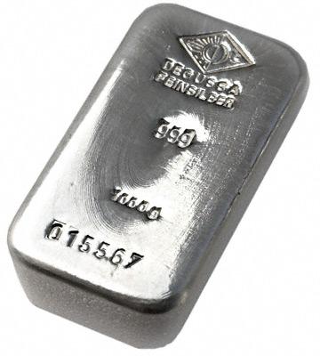 Ein Silberbarren von Degussa