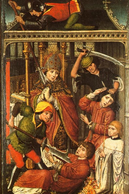 Tafelbild: Das Martyrium von Lambert, 15. Jahrhundert