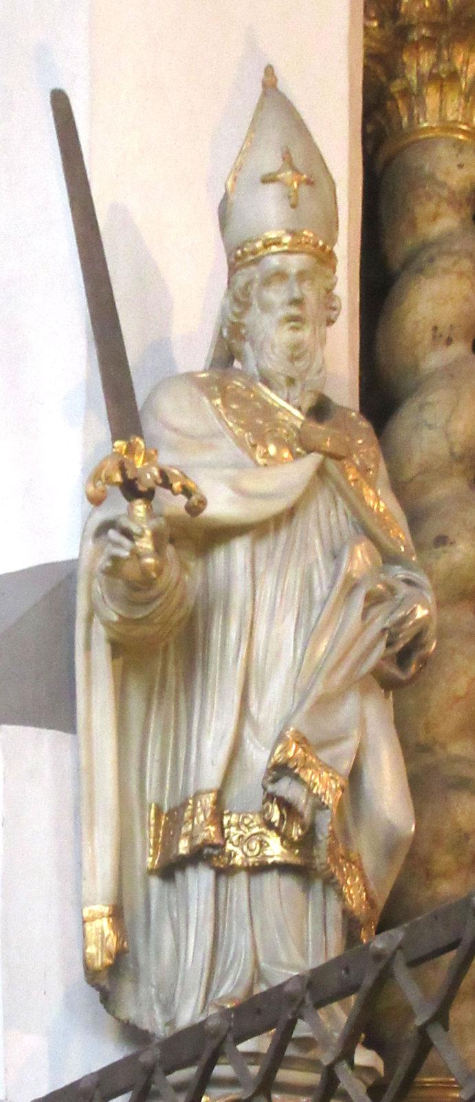 Statue, 17. Jahrhundert, in der Stiftskirche St. Lambertus in Düsseldorf